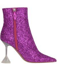 AMINA MUADDI *icon Giorgia Fuchsia Glitter Ankle Boots With Pointed Toe And Transparent Pyramidal Heel. - Purple