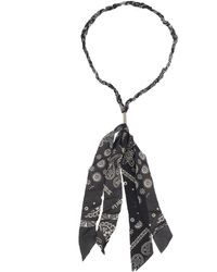 Palm Angels Necklace Made With Black Cotton Bandana And Metal Logoed Plaque.