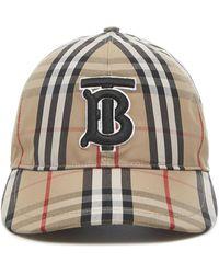 Burberry Cappello in tela di cotone con motivo Vintage Check e monogramma ricamato in nero. - Neutro