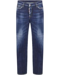 DSquared² Blue Jennifer Jeans In Cotton With Fadings And Back Red Logoed Patch At Back