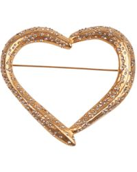 Givenchy Heart Leaf Golden Brooch In Brass With Swarovsky Micro Crystals And Engraved Logo - Multicolor
