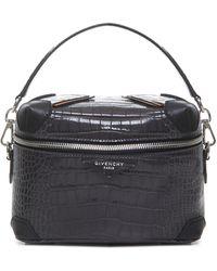 Givenchy Borsa a mano Bond Trunk C-B in pelle grigia stampata coccodrillo con tracolla removibile. - Nero