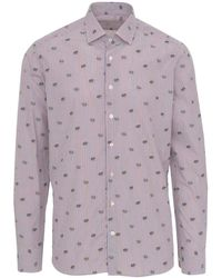 Etro Striped Cotton Classic Shirt With All Over Micro Frog-embroidery - Purple