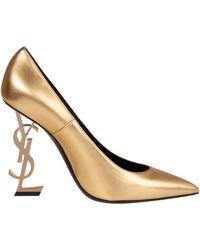 Saint Laurent Décolleté Opyum *ICON in pelle color oro effetto metallizzato con tacco a forma del logo