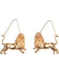 Givenchy Leo Shaped Earrings In Golden Metal Usable As Charm Too With A Gros-grain Ribbon - Metallic