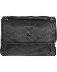 Saint Laurent *icon Niki Large Bag In Embossed And Quilted Black Leather With Ysl Monogram.