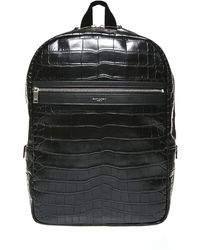 Saint Laurent Black Laptop City Backpack In Crocodile Embossed Leather Closed By Two-way Zip.