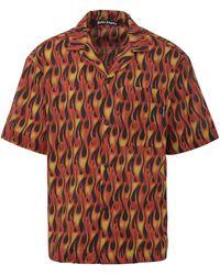Palm Angels Camicia Burning Bowling in cotone con stampa multicolore all-over e taschino sul petto.