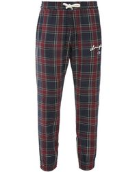 Champion Multicolor Pants In Wool Blend With Tartan Motif And Embroidered Side Logos - Blue