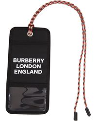 Burberry Porta carte nero con lacci multicolori, fessure e stampa bianca