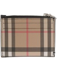 Burberry Vintage Check Zipped Card Case - Brown