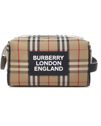 Burberry Vintage Check Cotton Canvas Clutch With Logo Patch On The Front And Double Metal Zip. - Natural