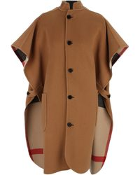 Burberry Reversible Turtlenecked Poncho In Camel Colored Wool Blend With Tartan Pattern - Multicolor