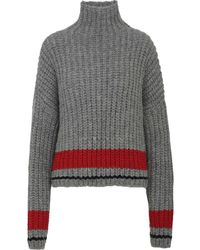 DSquared² Grey Alpaca And Wool Turtleneck Jumper With Thick Knitting And High Red Stripe. - Gray