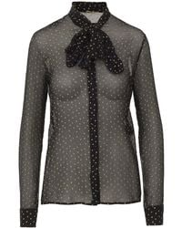 Saint Laurent Black See-through Silk Shirt With All-over Printed Stars And Bow At The Neck.