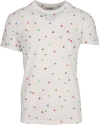 79ac460f93 Saint Laurent Punk Rock Short Sleeve T-shirt In Black And Ivory Moon ...