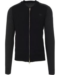 Antony Morato Black Cotton Blend Cardigan With Grey Sleeves And Shoulders, Closed By Zip.