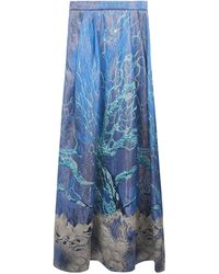 Alberta Ferretti Long Slipped Skirt In Silk Blend Closed By Zip On The Back With Marine Subjects. - Blue
