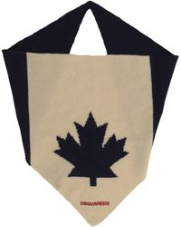 DSquared² Black And Ècru Bandana In Wool Blend With Maple Leaf And Embroidered Logo.