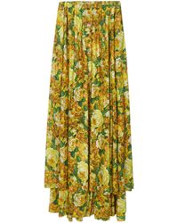 Vetements Yellow Pleated Skirt Closed By Buttons On The Back With Floral Print And Asymmetrical Hem.