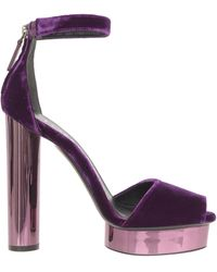 Tom Ford Purple Velvet Sandals With Ankle Strap, Pink Chromed Round Heel And Platform.