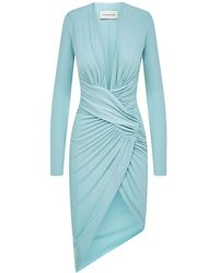 Alexandre Vauthier Mint Green Fitted Dress With Draped Design And Deep V-neckline.