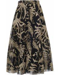 Marchesa Embroidered Organza Midi Skirt - Black