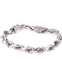 Emanuele Bicocchi Silver *icon Braided Bracelet In Silver 925 With Label With Engraved Brand Logo - Metallic