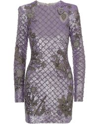 Balmain Lilac Dress In Jersey Covered By Sequins With Silver Beaded Embroidery. - Purple