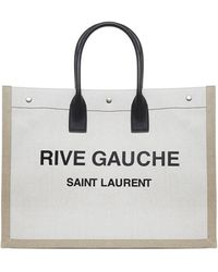 Saint Laurent Beige *icon Noe Tote Bag In Linen With Prints At Front And Black Leather Handles - Natural