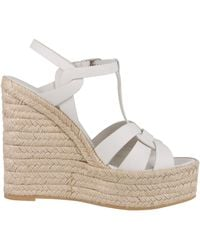 Saint Laurent T-strap Espadrille Sandals In White Leather With Jute Rope Wedge Heel And Strap - Multicolour