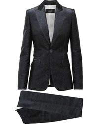 DSquared² Blue And Black Two Pieces Suit In Silk Blend With Peaked Revers And Flared Pants
