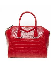 Givenchy - Antigona Small Hand Bag In Crocodile Red Shiny Leather With Removable Shoulder Strap. - Lyst