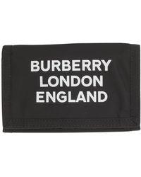Burberry Portafogli in nylon nero con chiusura a strappo e logo nuovo stampato sul davanti.