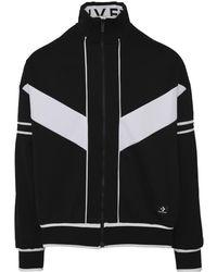 fab522106 Zip-through Black High-neck Cotton-blend Track Jacket, White Panels
