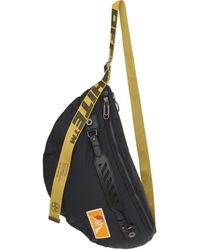 Off-White c/o Virgil Abloh Black Puffy Medium Nylon Belt Bag With Yellow Industrial Belt And Handle.