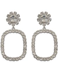 DSquared² Hoop Earrings Covered By Crystals On A Metal Base With Closure For Pierced Ears. - Metallic