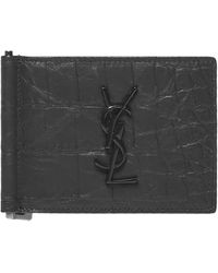 Saint Laurent *icon Crocodile-embossed Leather Card Holder With Black Metal Monogram And Central Bill Clip