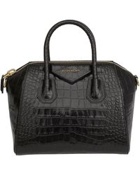 Givenchy *icon Antigona Hand Bag In Printed Crocodile Black Shiny Leather With Removable Shoulder Strap.
