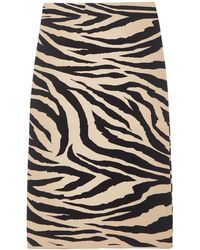 Laneus Close-fitting Beige Pencil Skirt In Knitted Jersey With Tiger Pattern And Elasticated Waistband. - Natural