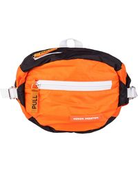Heron Preston Orange And Black Fanny Pouch In Polyamide With Iconic Brand Logos