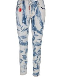 DSquared² Runway Straight Cropped Slim Fit Jeans In Multicolour Denim With Padlock At The Belt Loop - Blue
