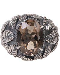 Ugo Cacciatori Silver Ring With Smoky Quartz Oval Gemstone And Chiseled Leaves - Metallic
