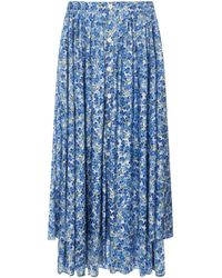Vetements Blue Pleated Skirt Closed By Buttons On The Back With Floral Print And Asymmetrical Hem.