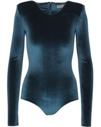Alexandre Vauthier Long Sleeves Cobalt Blue Velvet Body With Padded Shoulders