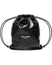 Saint Laurent *icon Black Teddy Pouch-style Backpack In Lambskin With Internal Envelope Pocket.