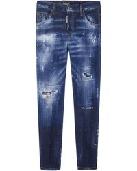 DSquared² Blue Cool Girl Cropped Hem 16,5cm Jeans In Cotton Denim With Back Patch