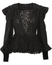 Amen Black Blouse In Cotton Blend With Lacy Fabric And V Neckline