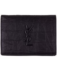 Saint Laurent Black Leather *icon Monogram Wallet With Embossed Printed Crocodile And Logo
