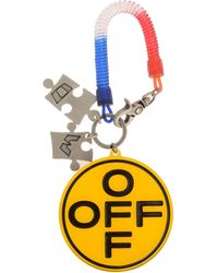 Off-White c/o Virgil Abloh *icon Yellow Off Cross Keyring In Metal With Puzzle Shaped Charms
